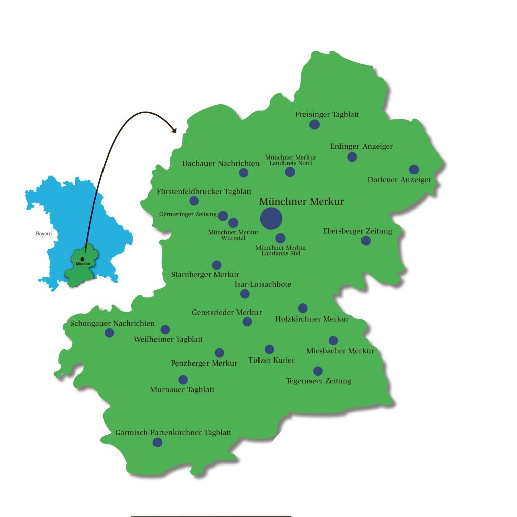 Merkurland, das Verbreitungsgebiet des Münchner Merkur und seiner Heimatzeitungen