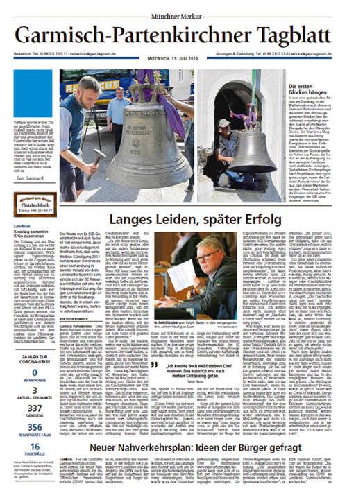 Garmisch Partenkirchner Tagblatt Titelkopfanzeige Lokal