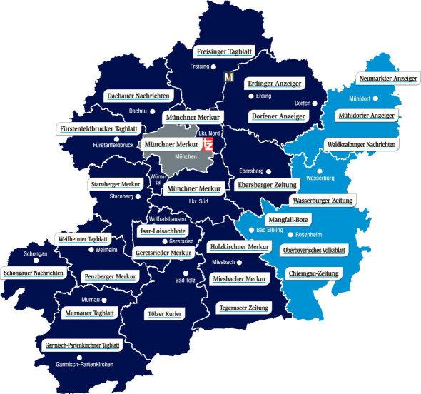 Verbreitungsgebiet Gesamtausgabe Münchner Merkur tz