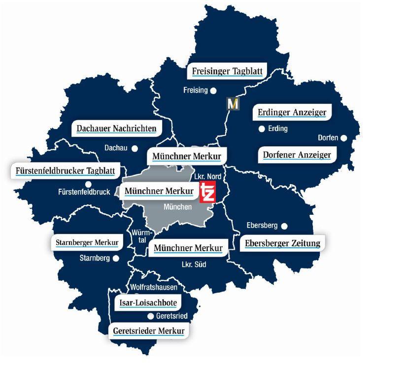 Verbreitungsgebiet S-Bahn-Kombi Münchner Merkur tz