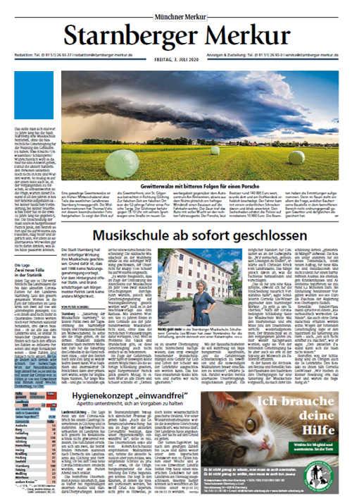 Starnberger Merkur Titelkopfanzeige Lokal