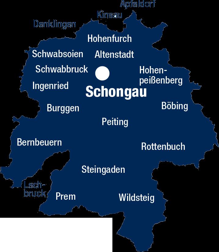 Landkreis Weilheim-Schongau Karte Schongau
