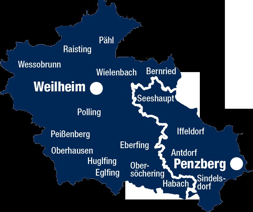 Landkreis Weilheim-Schongau Karte Weilheim